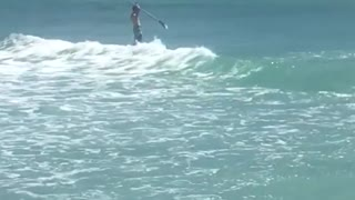 Two paddle boarders ride wive in ocean cove - Video
