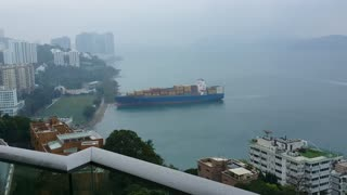 633-Foot Container Ship Runs Aground in Hong Kong - Video