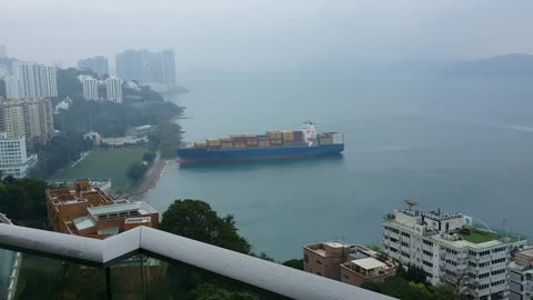 633-Foot Container Ship Runs Aground in Hong Kong