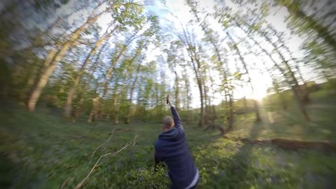 Bullet time in the blue bells with hank the dog