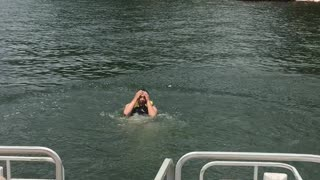 First attempt at a back flip from front of boat