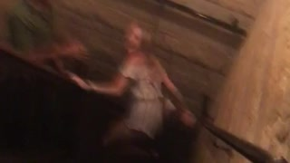 Britney don't fall girl falls down stairs - Video