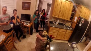 Soldier Surprises Wife And Daughter With Return From Deployment