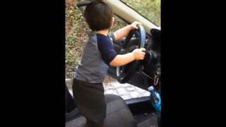 Toddler grooves to music while pretending to drive