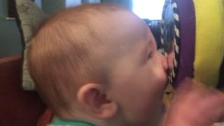 Baby Kisses His Own Reflection  - Video