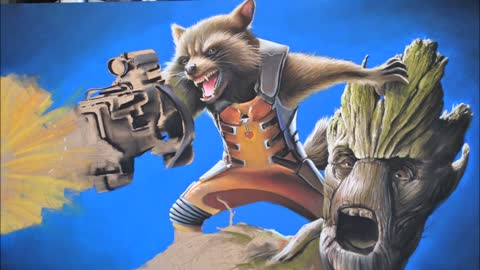 Hyperrealistic speed painting of Rocket Raccoon and Groot from Guardians Of The Galaxy
