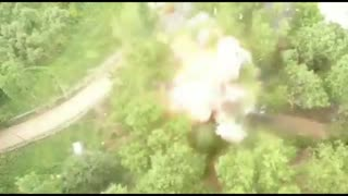 Drone footage of security forces blowing up explosives-laden car