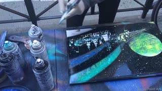 Spray paint street artist designs breathtaking painting