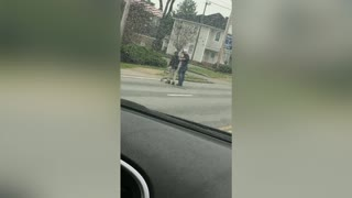 Driver Helps Elderly Man Cross Street
