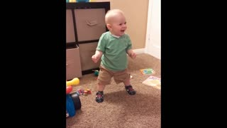 Precious Baby Is Amused By His Squeaky Shoes  - Video