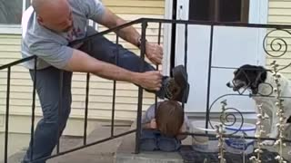 Kid gets head stuck in fence - Dad to the rescue! - Video