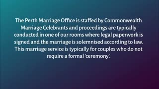 Perth Marriage Registry - Video
