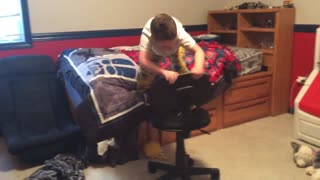 Boy Attempts And Fails Homemade Obstacle Course - Video