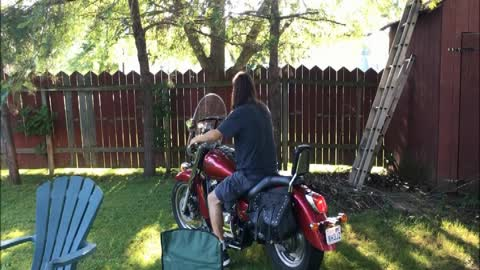 Dad let's son ride motorcycle for the first time and it doesn't end well