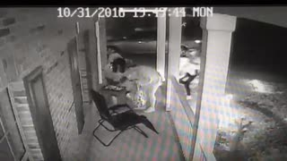 Large Woman and Crew Steal Halloween Candy - Video