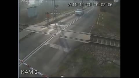 Cyclist miraculously survives collision with speeding train