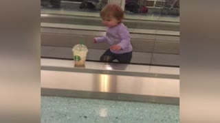 Cute Baby vs Moving Walkway at Airport - Video