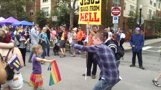 1st Grader Backs Down Homophobe Street Preacher - Video