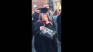 Woman surprised at graduation with marriage proposal and a puppy! - Video