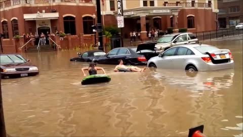 Residents go tubing after flash flood in Albany, NY