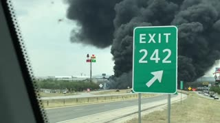 Tanker Fire Creates Huge Plume of Smoke - Video