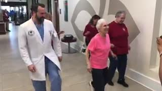 91-Year-Old Woman Amazingly Dances With Her Doctor After Spine Surgery