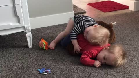 1-year-old Smothers Twin with Hugs