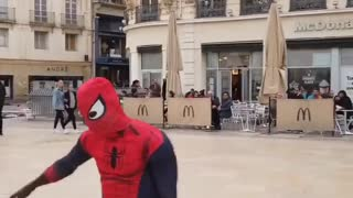 Spider-man performs tricks in France