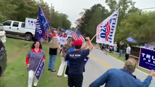 Biden Greated in GA By Trump Supporters Along The Road