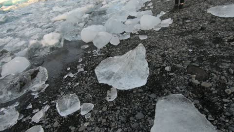 Big ice in glacier lagoon in Iceland