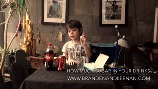 Little kid demonstrates how much sugar is in your drinks