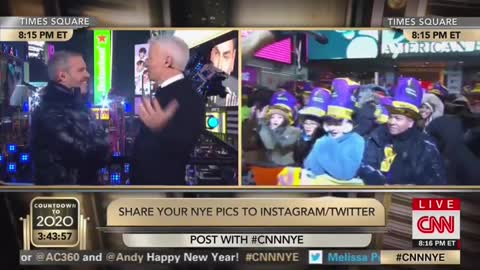 CNN's Richard Quest Appears in Times Square Dressed as a Cat for New Years