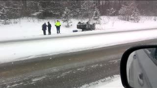 can't figure out how this ford ranger rolled over Northern mi winter accidents  - Video