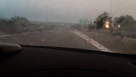 210 km/h with a bad storm on the highway in italy