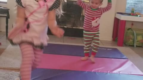 Baby Brother and Big Sis gymnastics move