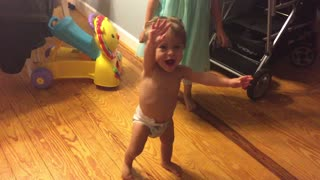 Baby Screams With Excitement While Taking Very First Steps