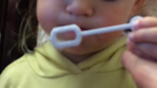 Hilarious, Cute toddler learning to blow Bubbles, But watch how! : - DD