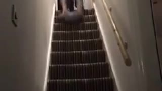Plaid german man slides face first down stairs on pillow - Video