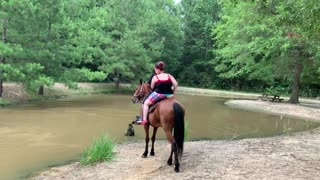 Horse Sends Riders into Stream