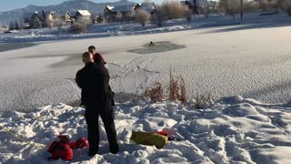 Dog Rescued from Icy Pond in Montana - Video
