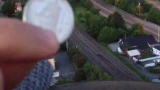 Coin dropped into factory chimney creates bizarre sounds - Video