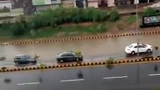 Beautiful view of full water on road in Pakistan after heavy Rain