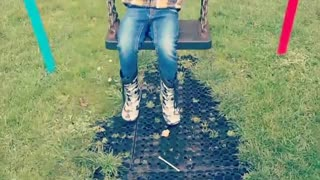 When your mom tries to push you on the swings but actually pushes you off. - Video