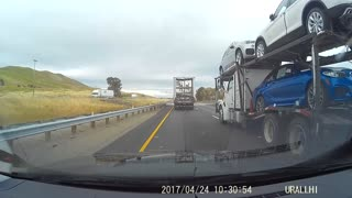 Car Hauler Lane Change Fail - Video