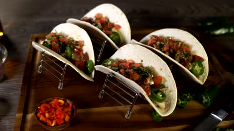 Tacos with beef and peppers