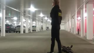 Collab copyright protection - black clothing garage unicycle fail - Video
