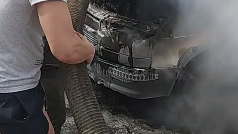Forced to Put Out Fire with Sewage Waste