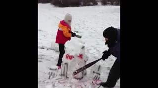 Kids destroy R2D2 snowman - Video