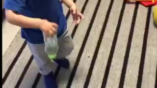 This toddler know how to flip bottles!!!  - Video