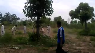Snake killed by villagers - Video
